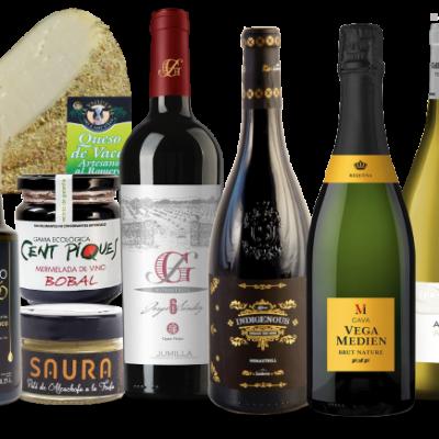 Lote de vinos y productos mediterraneos